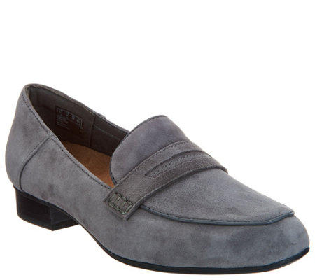 """As Is"" Clarks Artisan Suede Heeled Loafers- Keesha Cora"