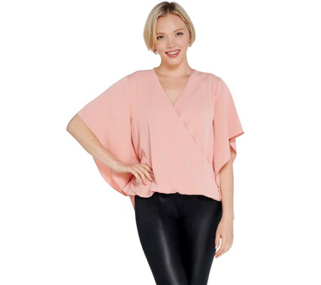 Lisa Rinna Collection Cross Over V Neck Blouse