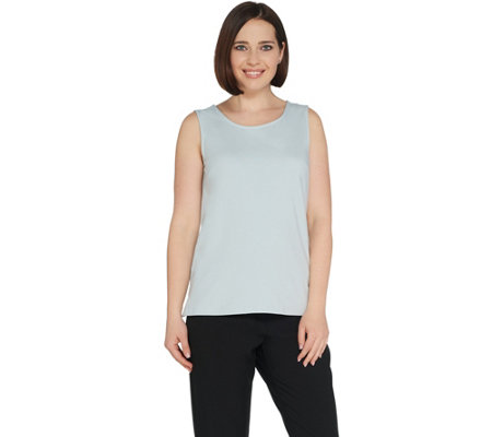 """As Is"" Joan Rivers Wardrobe Builders Scoop Neck Cotton Stretch Tank"