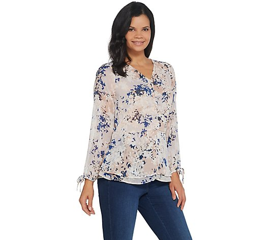 Belle by Kim Gravel Ruched V-Neck Blouse with Tie Sleeve