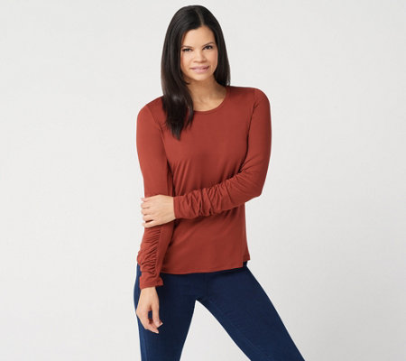 G I L I Peached Knit Ruched Long Sleeve T Shirt