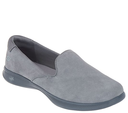 """As Is"" Skechers GOstep Lite Suede Slip-On Shoes- Delight"