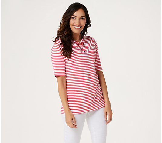 Quacker Factory Elbow-Sleeve Grommet Lace-Up Striped Top