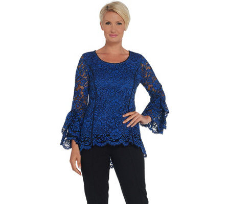 As Is Isaac Mizrahi Live Bi Color Lace Knit Top With Bell Sleeves