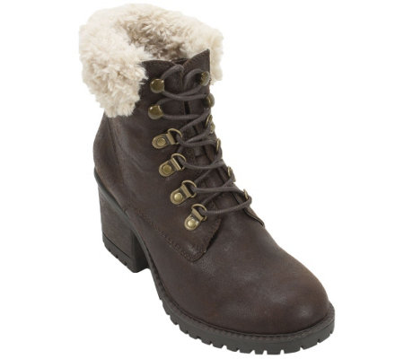Cliffs by White Mountain Lace-up Faux Fur Bootie - Trident