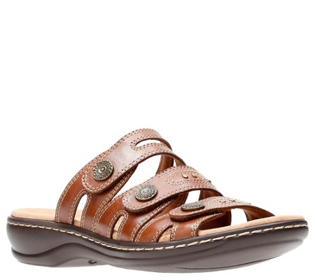 Clarks Leather Lightweight Triple Strap Slides- Leisa Lakia