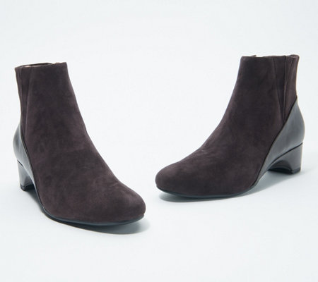 Taryn Rose Suede & Leather Ankle Boots - Babson