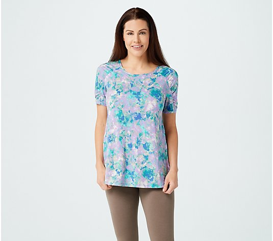 LOGO by Lori Goldstein Printed Rayon 230 Top with Ruched Sleeves