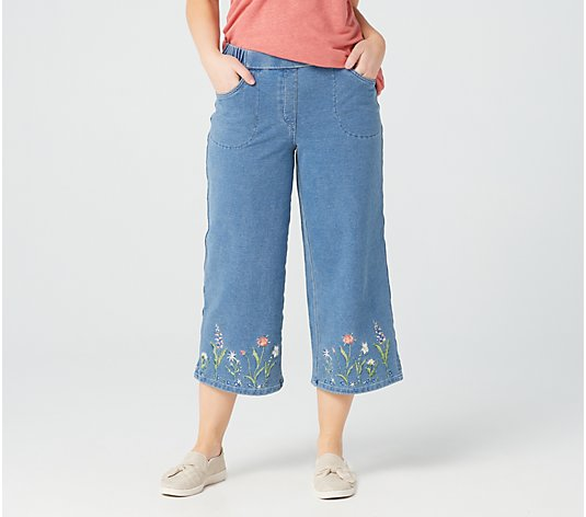 Quacker Factory DreamJeannes Embroidered Wildflowers Culotte Pants