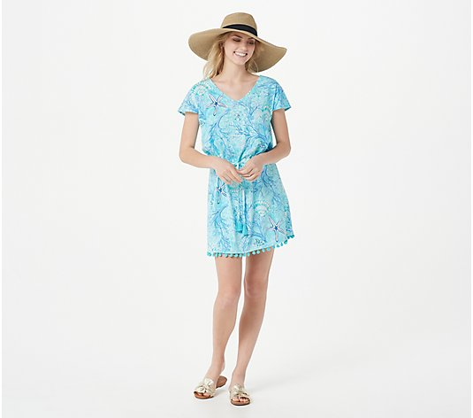 Belle Beach by Kim Gravel Seashell Print Tie Front Cover-Up