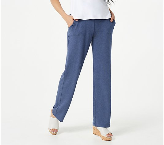 Susan Graver Petite Weekend Cozy Jersey Knit Pull-On Pants