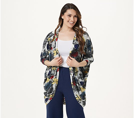 Truth + Style Printed Open Front Bat Wing Cardigan