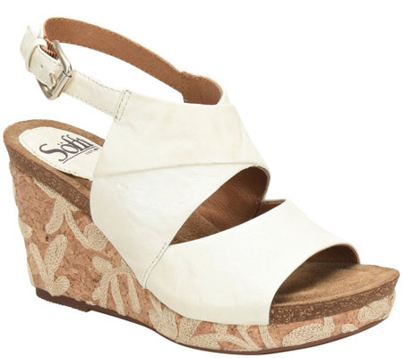 Sofft Leather Wedge Sandals - Corrina