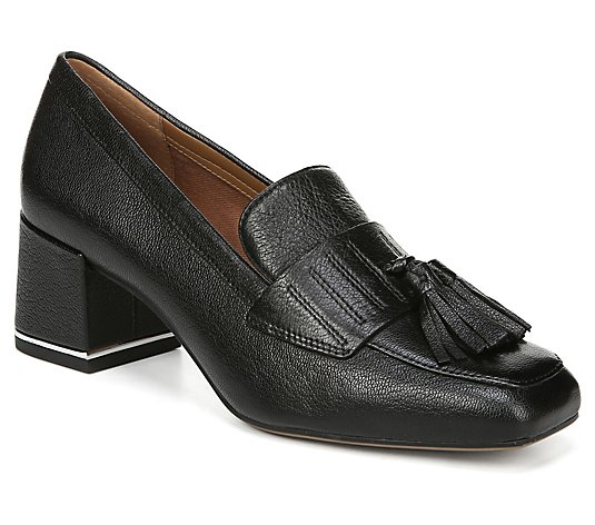 Franco Sarto Leather Slip-on Block Heel ClassicLoafers - Rome