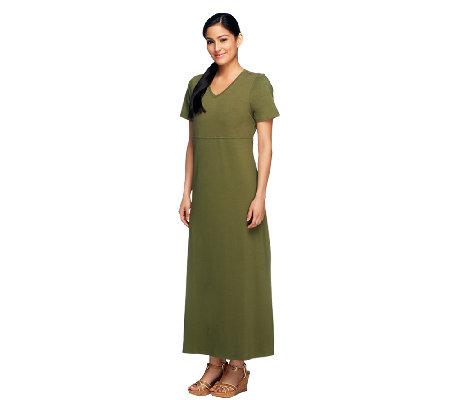 cba648707f24 Denim & Co. Short Sleeve V-Neck Empire Waist Maxi Dress - Page 1 ...