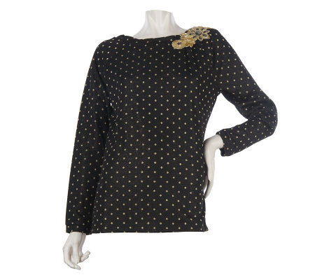 George Simonton Sequin and Bead Embellished Top with Metallic Detail
