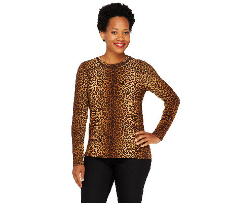 Susan Graver Weekend Printed Cotton Spandex Long Sleeve Top