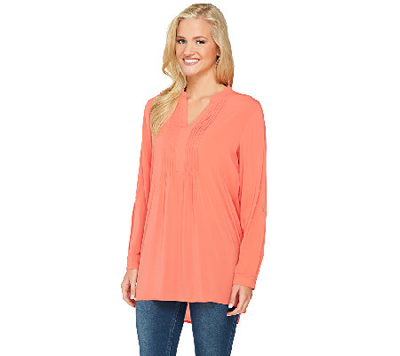 Susan Graver Woven Y-Neck Long Sleeve Tunic with High-Low Hem