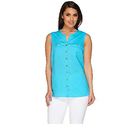 Susan Graver Linen Blend Sleeveless Y-Neck Button Front Shirt