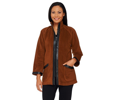 Bob Mackie's Zip Front Fleece Jacket with Faux Leather Trim