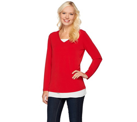 Susan Graver Liquid Knit Long Sleeve V-Neck Top with Feather Weave