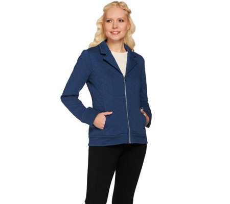 Isaac Mizrahi Live! Quilted Knit Jacket w/ Stitch Details