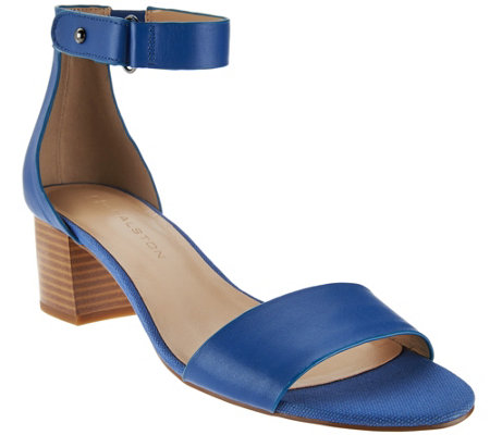H by Halston Leather Sandal with Stacked Block Heel - Lexi