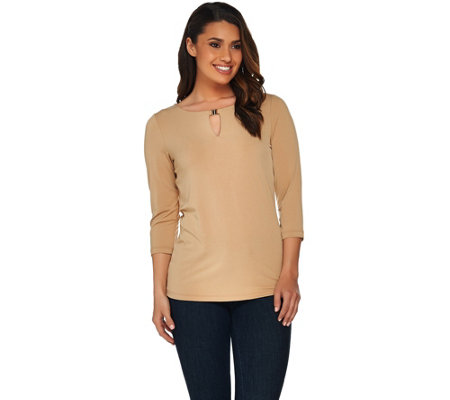 Susan Graver Liquid Knit 3/4 Sleeve Top with Keyhole Trim
