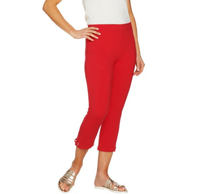 Susan Graver Weekend Cotton Spandex Capri Leggings w/ Grommets