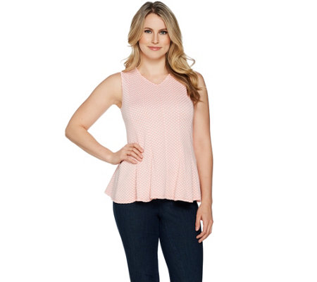 H by Halston Sleeveless Jacquard Peplum Top