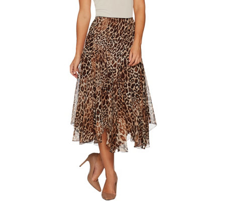 Susan Graver Printed Sheer Chiffon Fully Lined Skirt