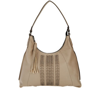 As Is Oryany Pebble Leather Hobo Bag With Braided Detail Alli A296637