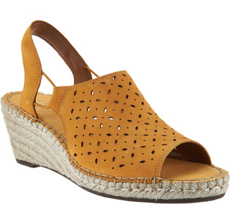"""As Is"" Clarks Artisan Leather Espadrille Wedge Sandals - Petrina Gail"