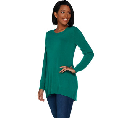 Susan Graver Plush Knit Scoop Neck Sweater
