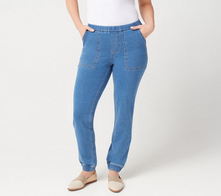 Denim & Co. Petite Comfy Knit Denim Pull On Jogger Pants