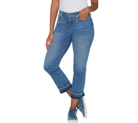 Isaac Mizrahi Live! Petite TRUE DENIM Boot Cut Crop Jeans