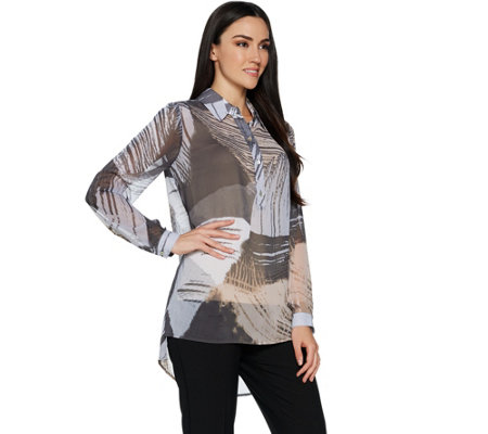 As Is Susan Graver Printed Sheer Chiffon Shirt With Hi Low Hem