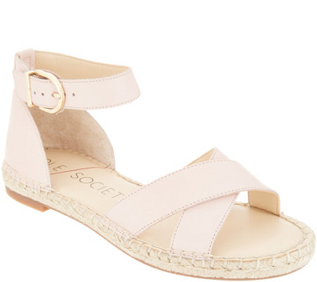 Sole Society Leather Ankle Strap Espadrille Sandals-Saundra