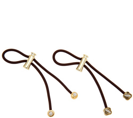Pulleez Set of 2 Pave Charm Ponytail Holders