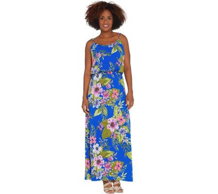 Susan Graver Regular Printed Liquid Knit Maxi Dress Page 1 Qvc Com