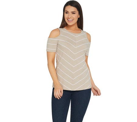 Denim & Co. Active Scoop-Neck Cold Shoulder Knit Top