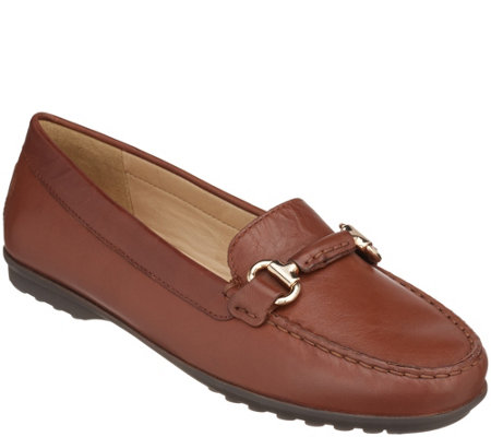 """As Is"" GEOX Leather Slip-On Loafers- Elidia"
