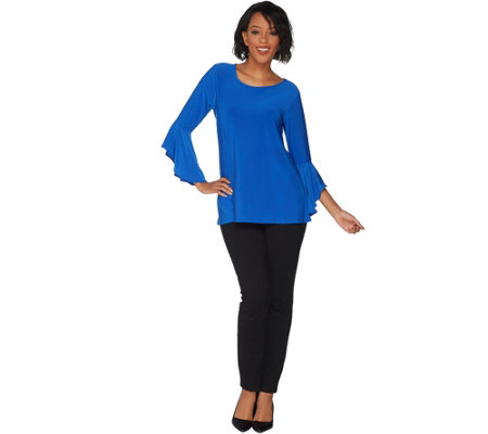 """As Is"" Women with Control Tall Flounce Sleeve Top w/ Ankle Pant Set"