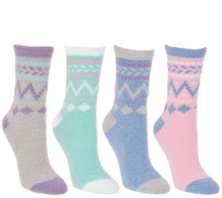 MUK LUKS Jojoba Fairisle Socks Set of Four