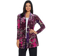 Susan Graver Printed Stretch Velvet Open Front Cardigan - A344837