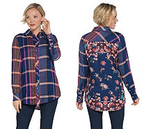 Tolani Collection Long-Sleeve Button Front Plaid Tunic - A345937