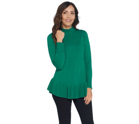 Isaac Mizrahi Live! Mock-Neck Long-Sleeve Peplum Sweater