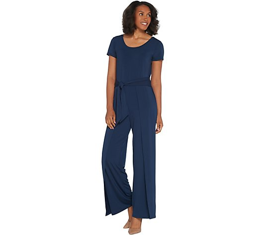 """As Is"" H by Halston Regular Jet Set Jersey Tie-Front Jumpsuit"