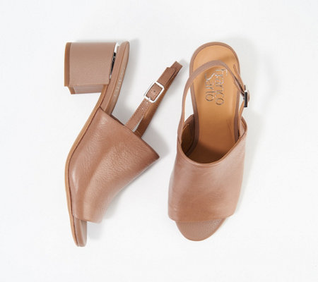 Franco Sarto Leather Mules With Ankle Strap Marielle