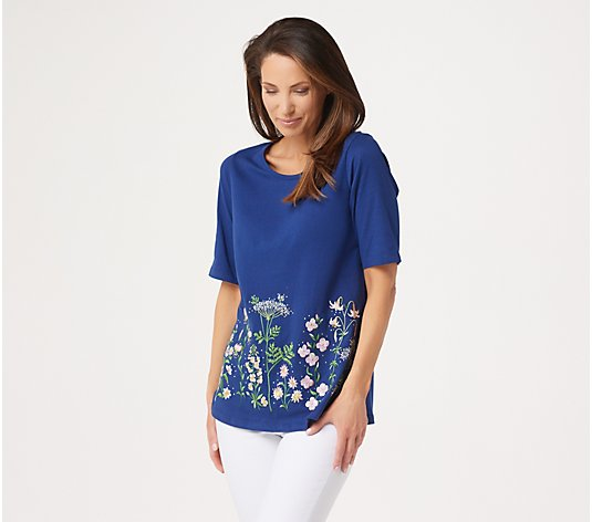 Quacker Factory Elbow-Sleeve Wildflower Knit T-Shirt